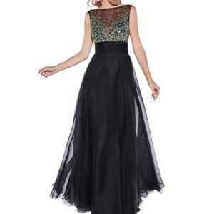 Rhinestone Embellished Sheer Chiffon Dress